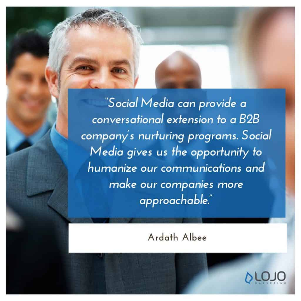 "A quote from Ardath Albee | A Featured Image from LOJO Marketing's article, ""How Is Social Media Part of My Business Branding?"""