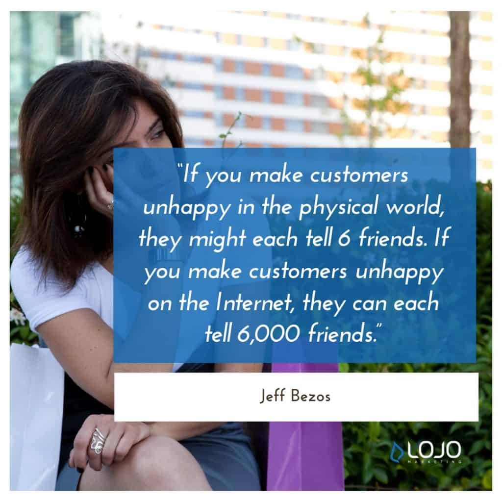 "A quote from Jeff Bezos | A Featured Image from LOJO Marketing's article, ""How Is Social Media Part of My Business Branding?"""