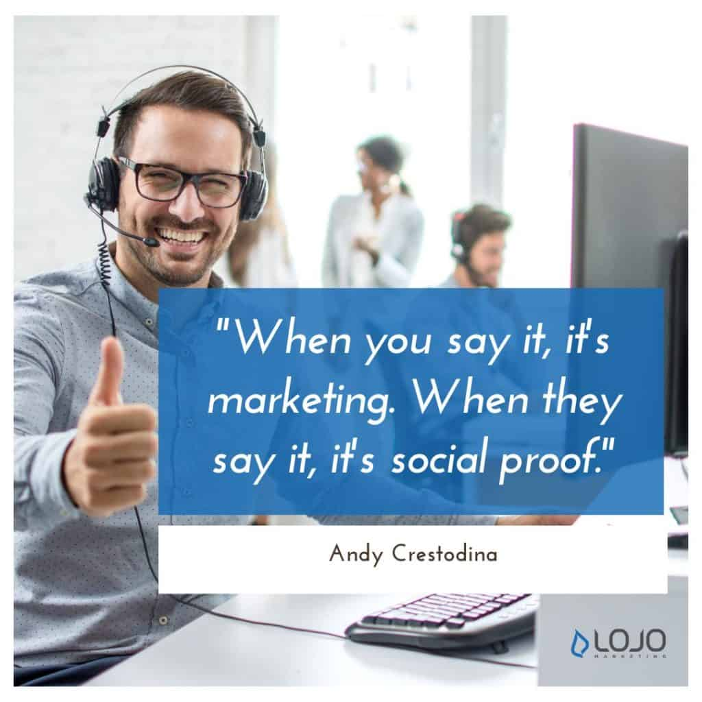 """A quote from Andy Crestodina   A Featured Image from LOJO Marketing's article, """"How Is Social Media Part of My Business Branding?"""""""