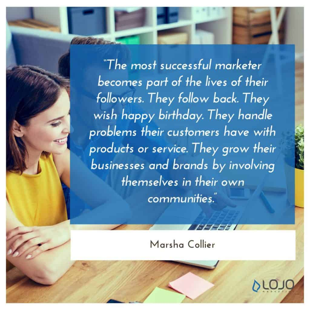 "A quote from Marsha Collier | A Featured Image from LOJO Marketing's article, ""How Is Social Media Part of My Business Branding?"""