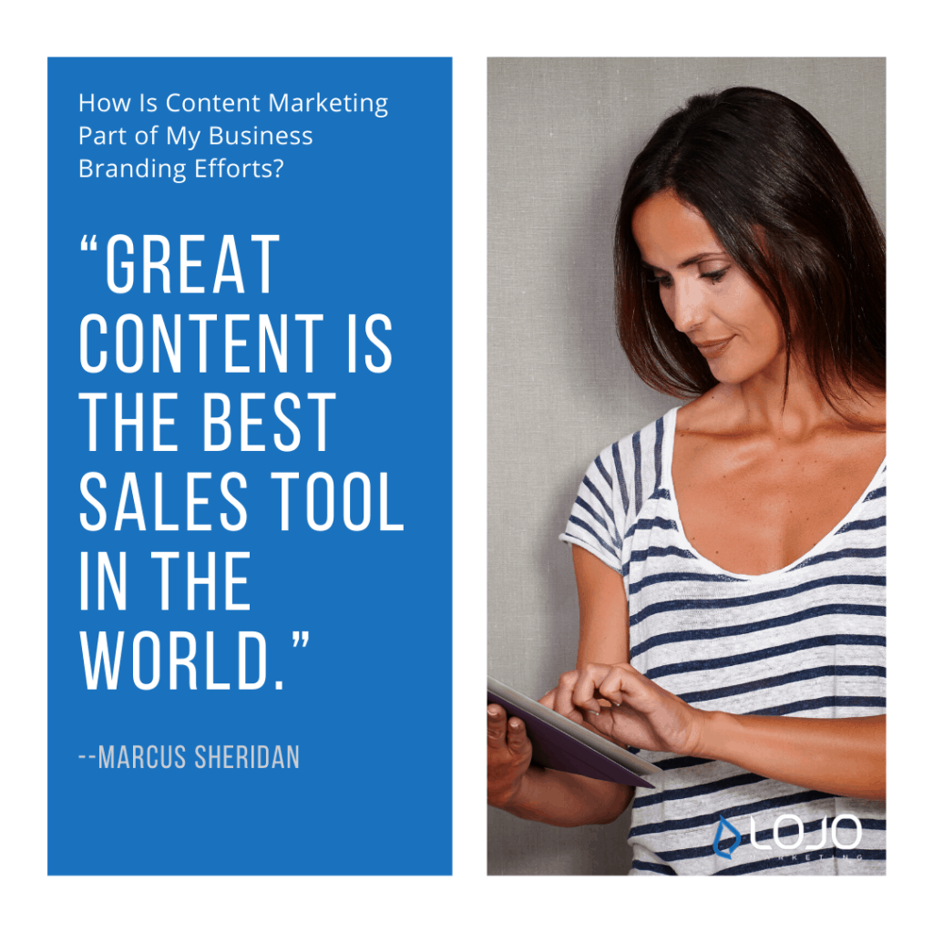 "A quote from Marcus Sheridan | A featured image from ""How Is Content Marketing Part of My Business Branding Efforts?"" by LOJO Marketing"