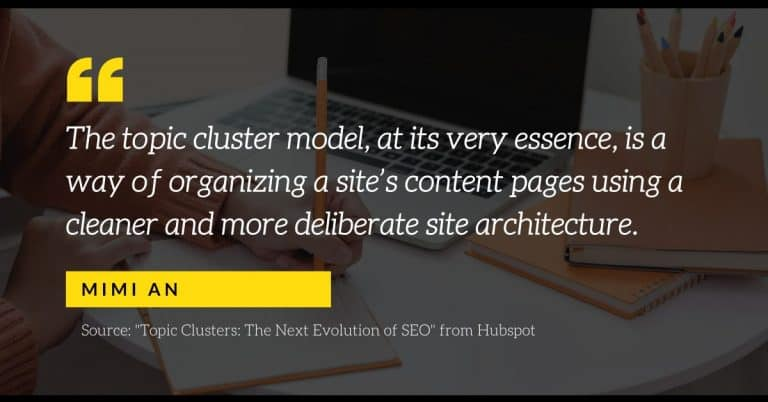A quote from Mimi An of Hubspot | A featured image for a blog post on topic clusters by LOJO Marketing.