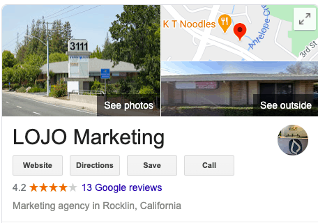 "A screenshot from LOJO Marketing on the Google SERP | A featured image from ""9 Actionable Local SEO Tips and Tricks (for Business Owners)"" by LOJO Marketing"