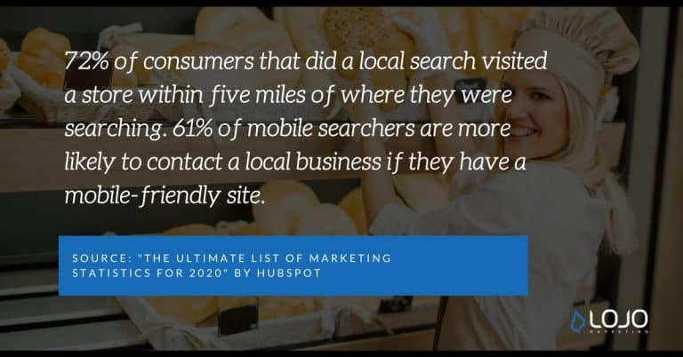 "A Local SEO quote from HubSpot | A featured image from ""9 Actionable Local SEO Tips and Tricks (for Business Owners)"" by LOJO Marketing"