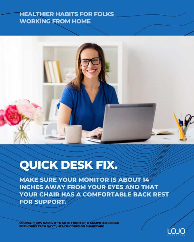 Helpful health tips: healthier habits for folks working from home.