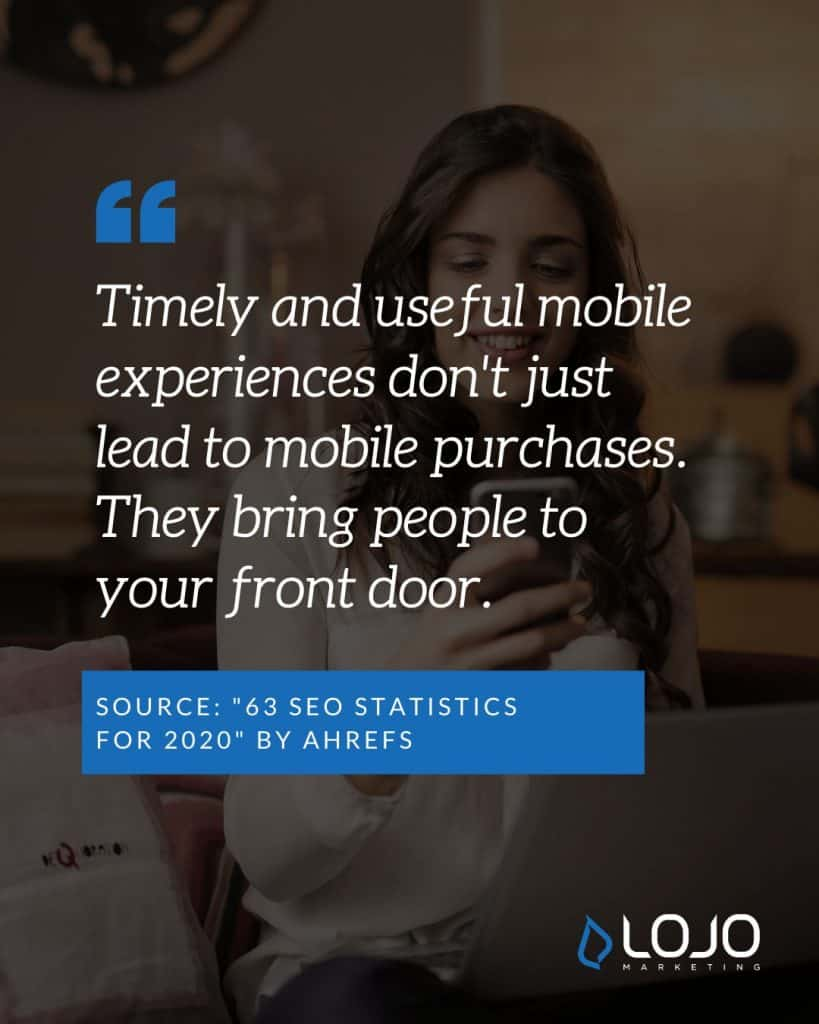 "A Local SEO quote from AHREFs | A featured image from ""What Do I Need To Know About Local SEO Ranking Factors?"" by LOJO Marketing"