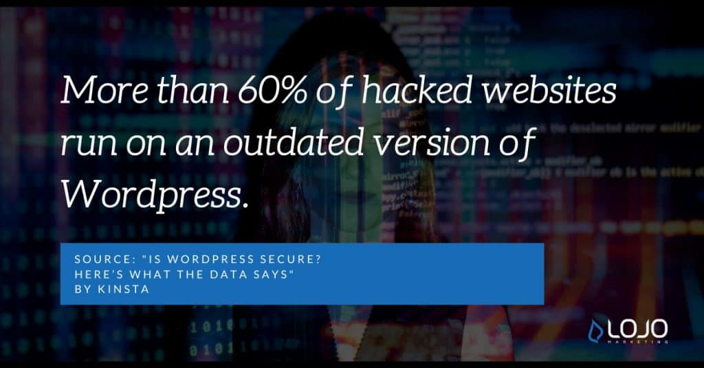 "A fun fact about the WordPress security | From the article ""Wordpress Facts and Figures"" by LOJO Marketing"