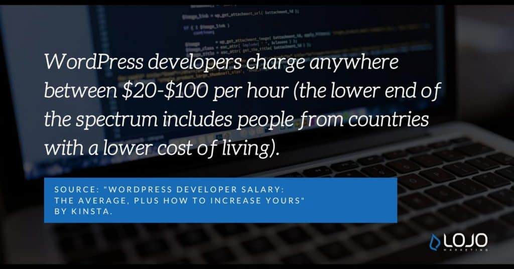 "A fun fact about the WordPress developers (and how much they might charge) | From the article ""Wordpress Facts and Figures"" by LOJO Marketing"