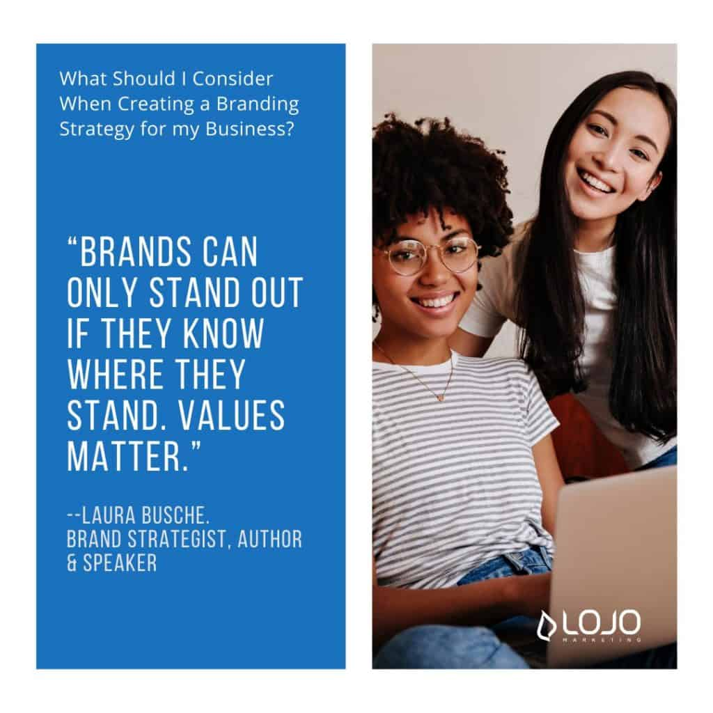 """A featured quote from Laura Busche, from """"What Should I Consider When Creating a Branding Strategy for My Business"""", an article from LOJO Marketing"""