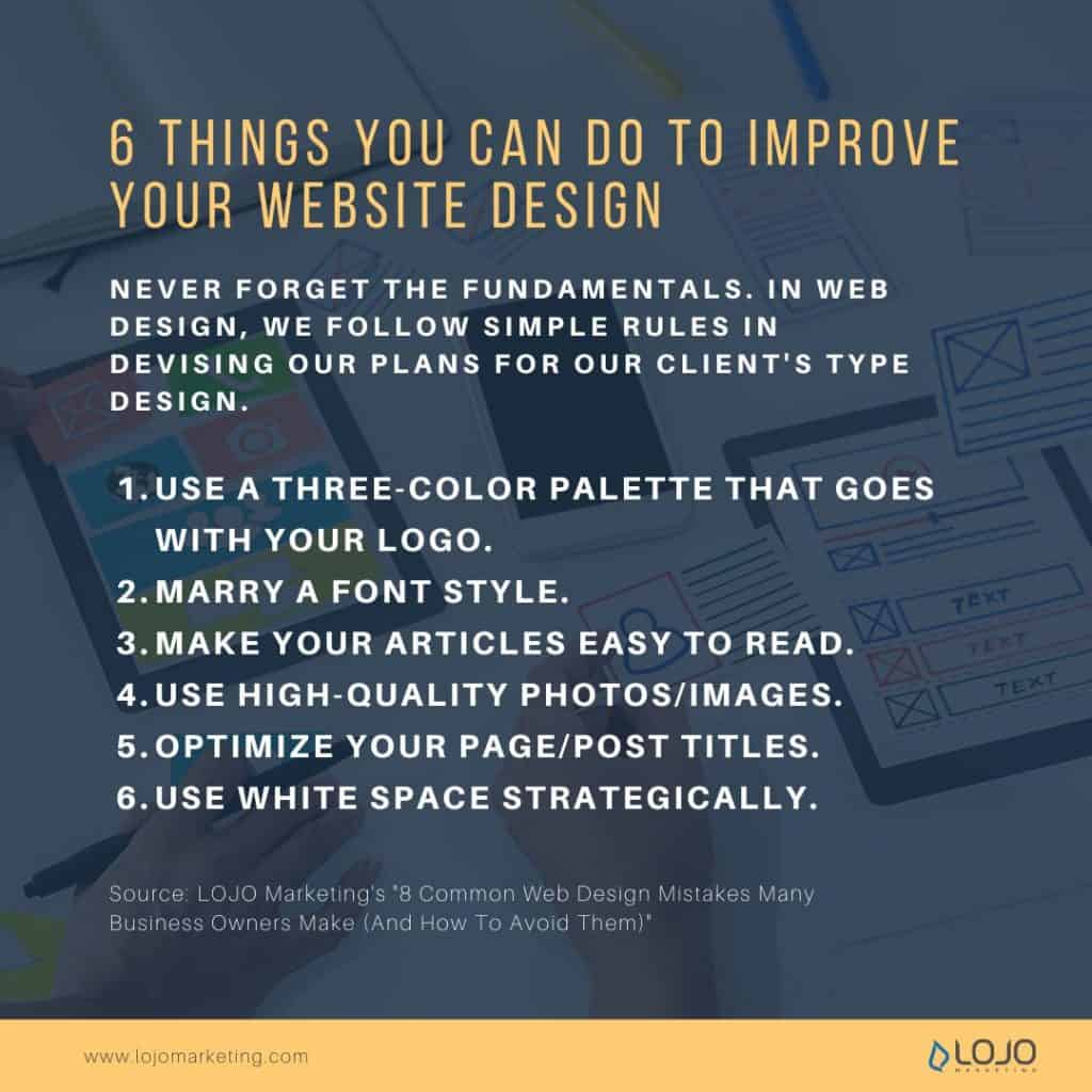 """A graphic about 6 things you can do to improve your website design 