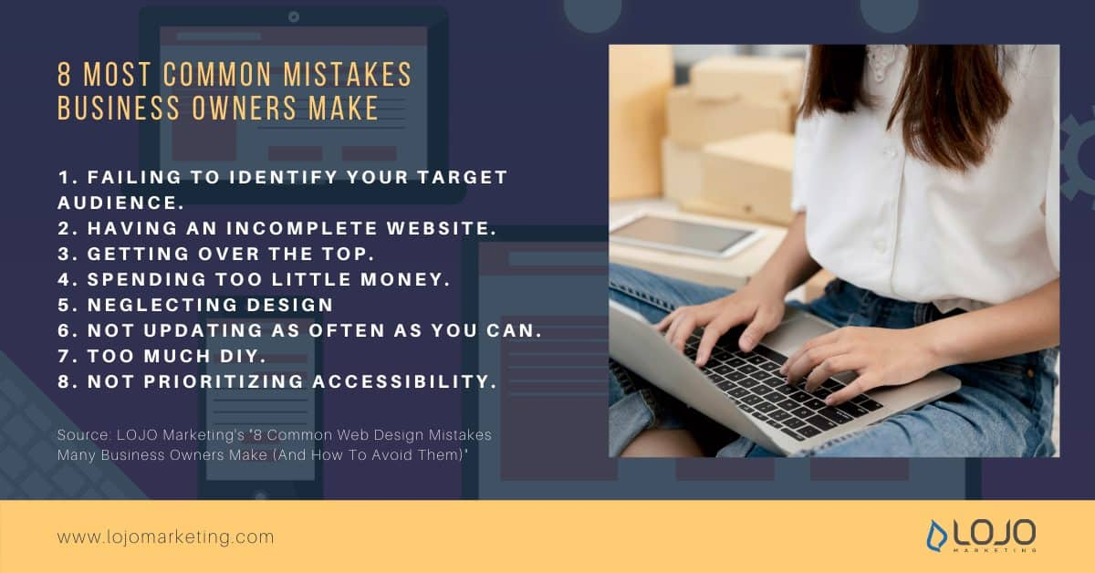 """A graphic about the 8 most common mistakes business owners make 