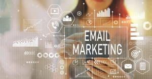 """A small business owner managing her business emails   a featured image from """"How Do I Build a Successful Email Marketing Campaign?"""", an article from LOJO Marketing."""