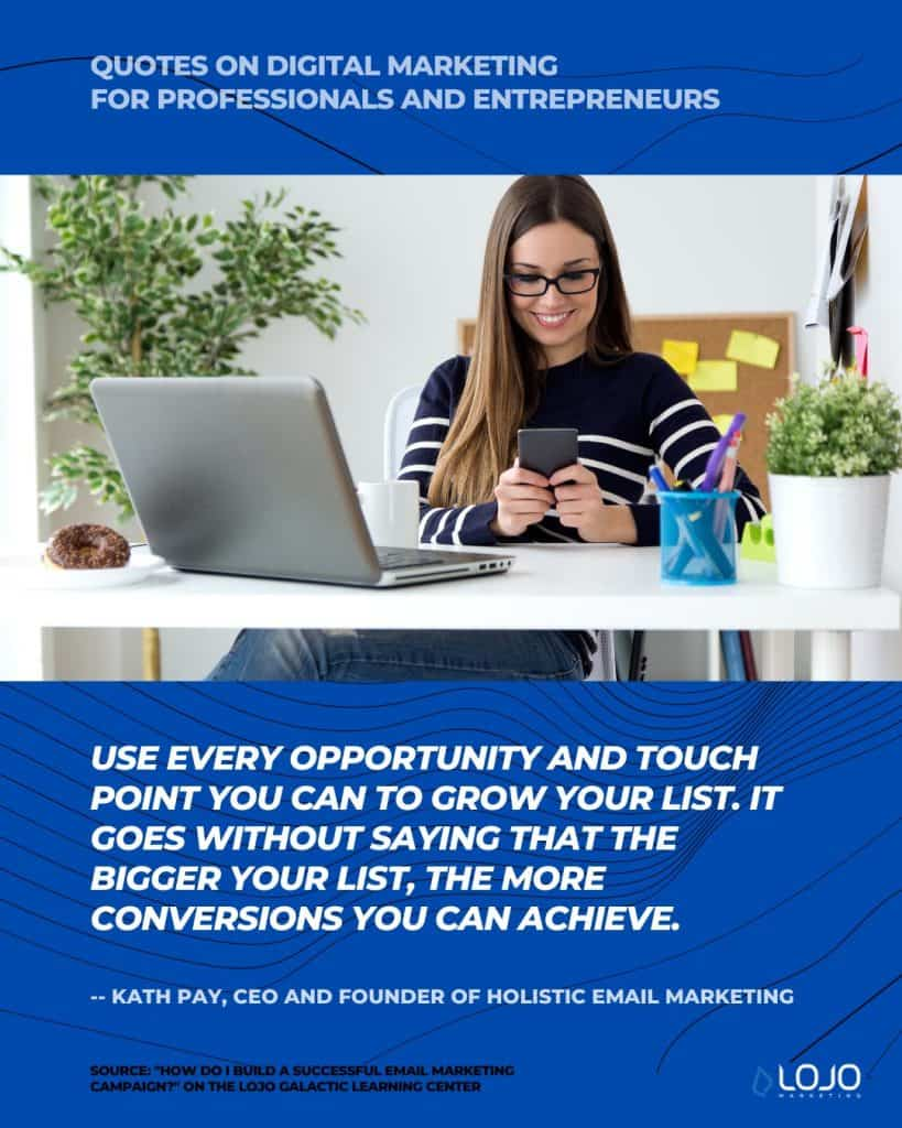 """A quote on email marketing from Kath Pay, CEO and Founder of Holistic Email Marketing 