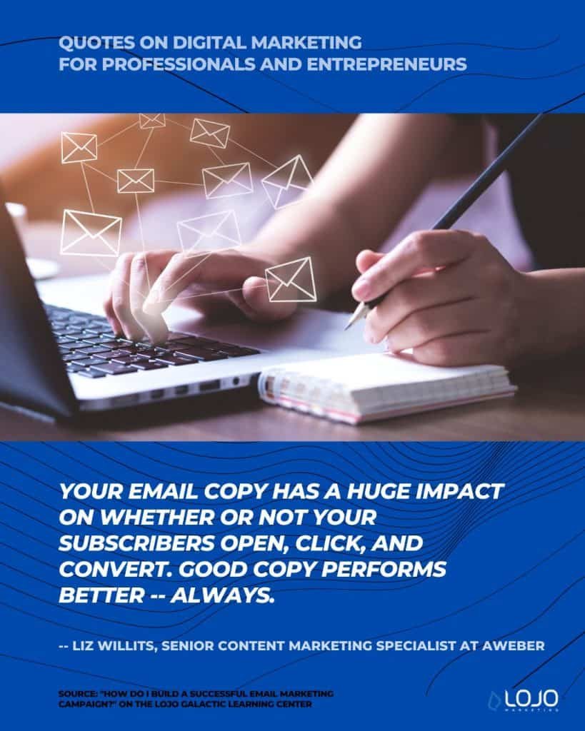 """A quote on email marketing from Liz Willits, Senior Content Marketing Specialist at AWeber 