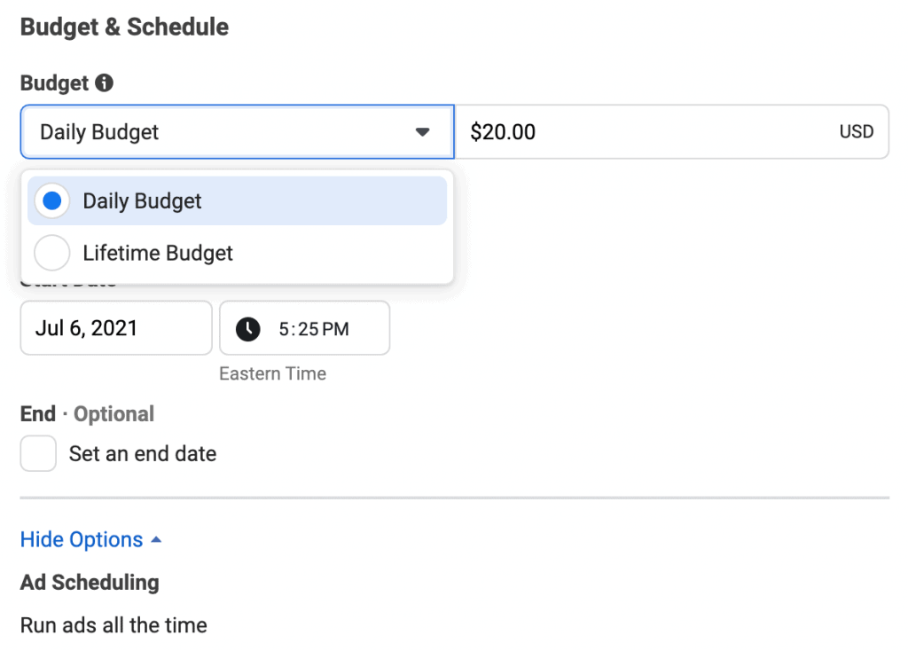 Facebook Ads - Budget